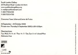 Cinerama / Isaac Julien and Javier Frutos: private view invitation, front