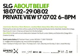 About Belief: private view invitation, front