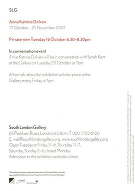 Anne Katrine Dolven: private view invitation, front