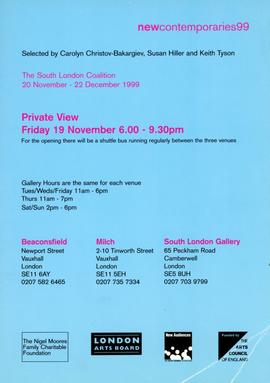 New Contemporaries 99: invitation, front