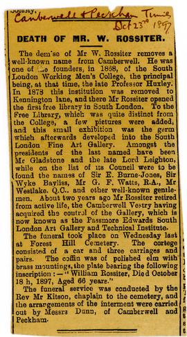 William Rossiter obituary, Camberwell and Peckham Times