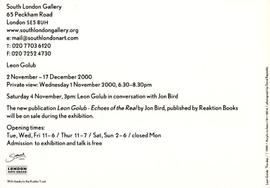 Leon Golub: private view invitation, front