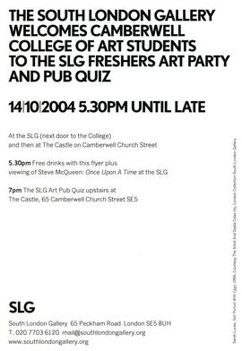 SLG Freshers Art Party and Pub Quiz, flyer, front