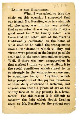 Henry Irving speech, 1890, page 1