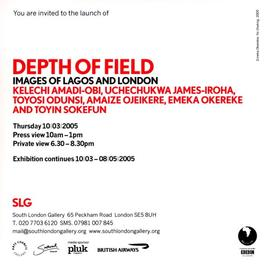 Depth of Field Images of Lagos and London: invitation, front