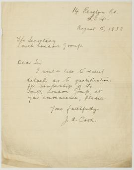 Letter from J.A. Cook