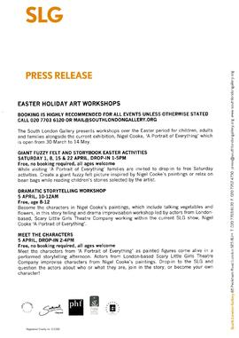 Nigel Cooke Press Release (Easter workshops), page 1
