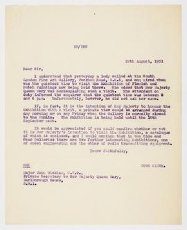 Letter about Queen Mary visiting the exhibition, 3