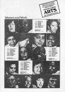 Women & Work: Greater London Arts Newsletter, front cover (page 1)