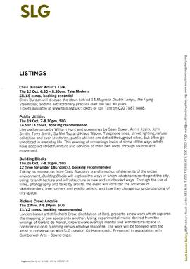 Chris Burden: Listings, page 1