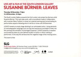 'Susanne Bürner: Leaves' leaflet, text