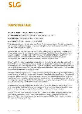 George Shaw Press Release, page 1