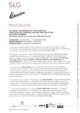 Her Noise Press Release, page 1