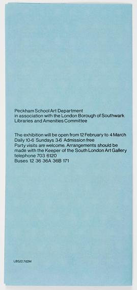 Peckham School Art Pamphlet, back cover