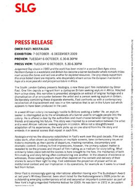 Omer Fast Press Release, page 1