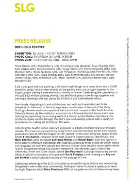 Nothing is Forever Press Release, page 1