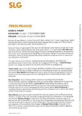 Games & Theory Press Release, page 1