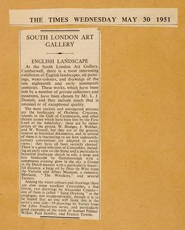 Press cutting: English Landscape Drawing and Painting