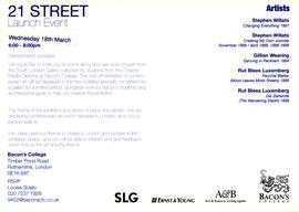 21 Street launch event card, back