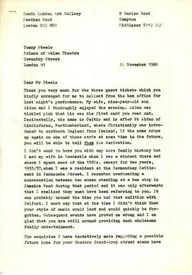 Letter to Tommy Steele, page 1