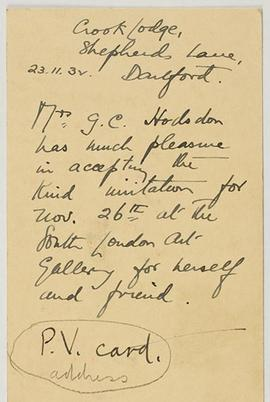 Letter from Mrs G.C. Hodsdon