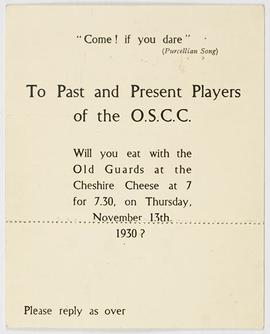 Old Cambians: O.S.C.C. Invitation, front