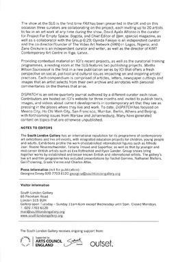Independent Curators International Press Release, page 2