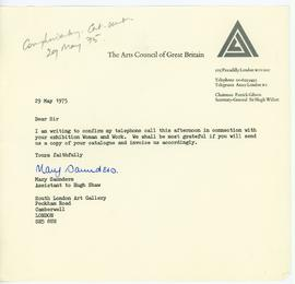 Letter from the Arts Council of Great Britain