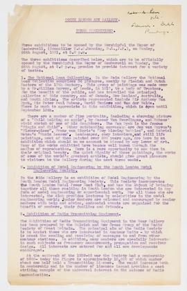 Information about exhibitions, 1951, page 1