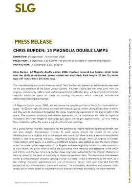 Chris Burden: 14 Magnolia Double Lamps Press Release, page 1