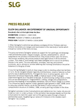 Ellen Gallagher Press Release, page 1