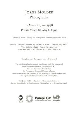 Jorge Molder: private view invitation, front
