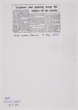 Press cutting: South London Group exhibition, 1951
