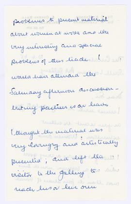 Letter from a member of the public about the Women & Work exhibition, page 2