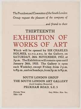 Invitation to 13th Exhibition of the South London Group
