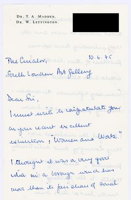 Letter from a member of the public about the Women & Work exhibition, page 1