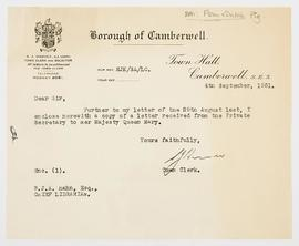 Letter about Queen Mary visiting the exhibition, 1