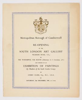 Programme for the re-opening of the South London Art Gallery, cover