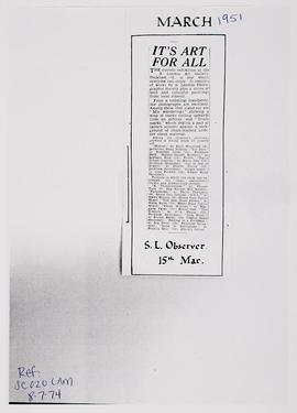 Press cutting: exhibitions, March 1951