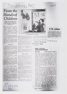 Exhibition of Children's Art and Crafts: Press Cuttings