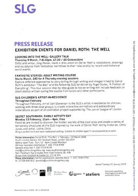 Daniel Roth Press Release (exhibition events)