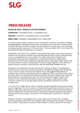 Manon de Boer Press Release, page 1