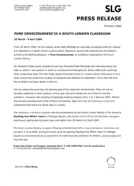 On Kawara Press Release: Pure Consciousness, page 1