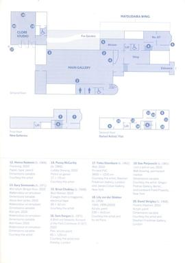 'Nothing is Forever' exhibition guide (blue), list of works and floorplan
