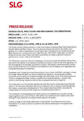 The Pedestrians Press Release, page 1