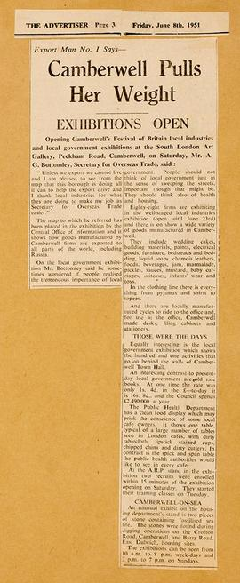 Press cuttings: Local Industries Exhibition, 2
