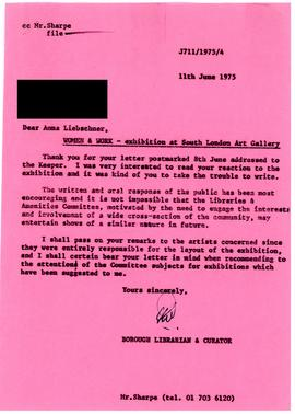 Reply from the gallery to a letter from a member of the public