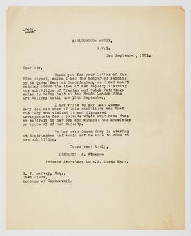 Letter about Queen Mary visiting the exhibition, 2
