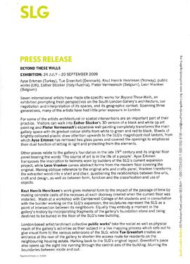 Beyond These Walls Press Release, page 1
