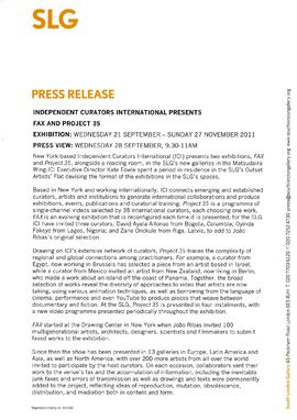 Independent Curators International Press Release, page 1